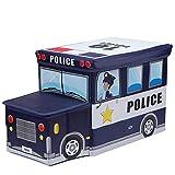 Kenebo Folding Auto Cartoon Kinder Aufbewahrungsbox Stuhl Nicht Gewebt Ordentlich Spielzeug Veranstalter Blaues Polizeiauto 55 * 25 * 31CM