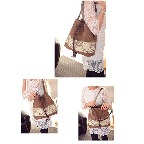 mixinni® Casual Schultertasche Segeltuch Schulterbeutel Nationalen Stil Handtasche Tasche Umhängetasche Damen Taschen Sommer Crossbody Kaffee
