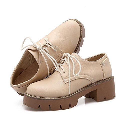 VogueZone009 Femme Lacet Pu Cuir Rond à Talon Correct Mosaïque Chaussures Légeres Beige