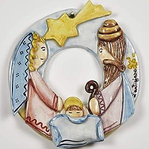 Girlande mit kleiner Krippe mit handgefertigten Applikationen, die die Krippe darstellen: Jesus + Heiliger Josef…