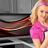 Küchenrückwand < Abstrakt Dunkel > Premium Hart-PVC 0,4 mm selbstklebend 340x60cm