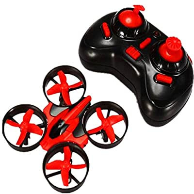 OKPOW RC Quadcopter 2.4G 4CH 6-Axis Gyroscope Mini RC Drone Headless Mode Remote Control Quadrotor with Light RTF Mode 2 Battery Included Red