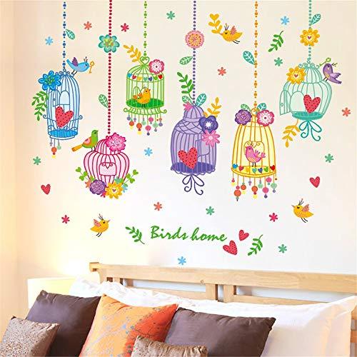 WANGZZZ Wandaufkleber Aufkleber Kinderzimmer Dress Up Dekoration Märchen Traum Ornament Anhänger Cartoon Vogel Vogelkäfig