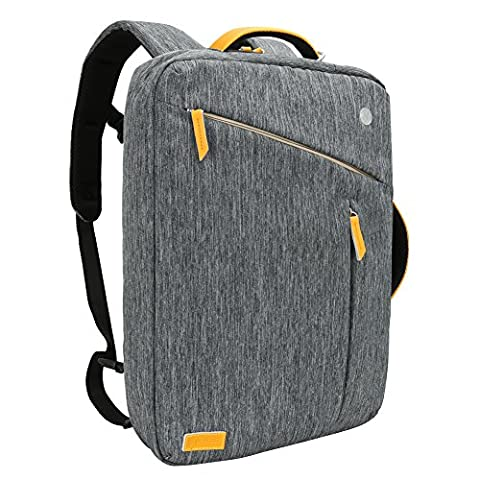 17.3 inch Laptop Briefcase Backpack, Evecase Water Resistant Convertible Canvas Briefcase Backpack w/ Headphone Cable Hole - Compatible with up to 17.3-inch HP / Dell / Asus / Acer / Lenovo / Samsung / Toshiba / Apple Macbook Laptop - Grey