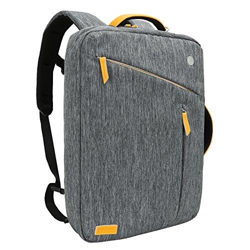 Laptop Rucksack 17.3 Zoll, Evecase Slim 3-in-1 Umwandelbar Rucksack Umhängetasche mit Laptopfach / Akteneinteilung / Zubehörfächer - Grau