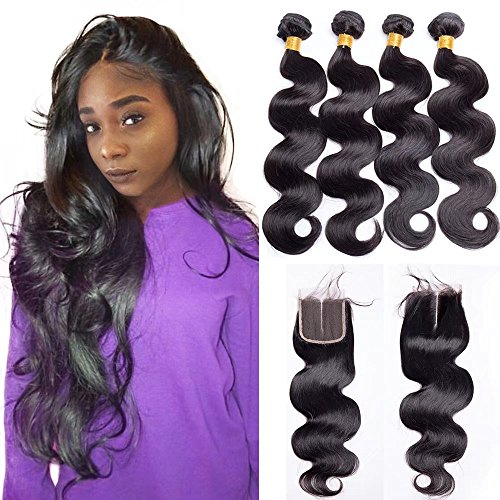 Maxine 9A Malaysian Virgin Hair 3 Bundles with Closure Body Wave 100% Unprocessed Human Hair Weave With Lace Closure (16