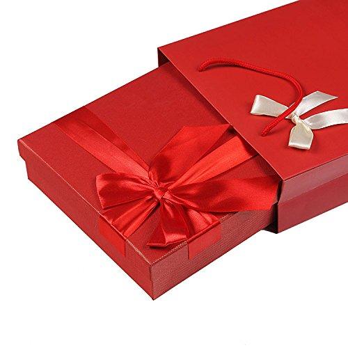 WEAF-Boîte-Cadeau pour Les Amis d'anniversaire Mothday avec Ruban en Spirale, 28 * 21 * 5.5cm,Un Rouge