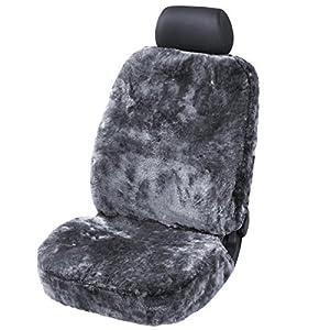 Torrex® Lammfell-Sitzbezug - kein Patchwork - Vollbezug mit allgemeiner Betriebserlaubnis (ABE) Universalgröße (Farbe Anthrazit)
