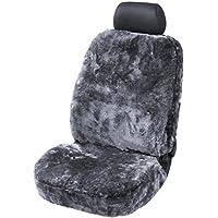 Torrex 39754 Lammfell-Sitzbezug - Kein Patchwork - Vollbezug mit Abe Universalgröße (Farbe Silber)
