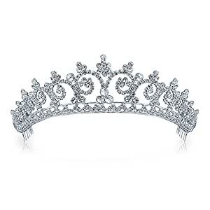Bling Jewelry Royal Wedding ispirato alo Rhinestone Tiara placcato in argento