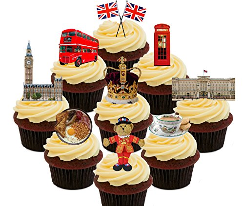 Union Jack, London Bus, Big Ben etc. Party Pack, Edible Cupcake Toppers - Stand-up Wafer Cake Decorations by Made4You (Big Ben Schneiden)
