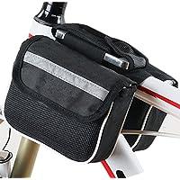 Pandaren® top telaio in tubi gerla doppia busta borsa frontale per bici della bicicletta con tasca 5in cellulare Borse da telaio da (nero)