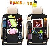 Auto Rückenlehnenschutz, HE-TOP 2 Stück Auto Rücksitz-Organizer für Kinder, Rücksitzschoner, Kick Matten Schutz für Autositz mit Durchsichtigem Große Taschen und iPad-Tablet-Halter