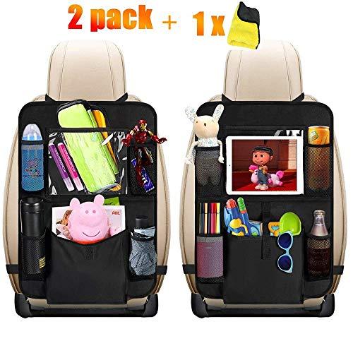 Auto Rückenlehnenschutz, HE-TOP 2 Stück Auto Rücksitz-Organizer für Kinder, Rücksitzschoner, Kick Matten Schutz für Autositz mit Durchsichtigem Große Taschen und iPad-Tablet-Halter -