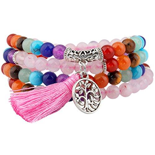 mookaitedecor Edelstein elastisches Armband mit 108 Perlen, Buddhistische Tibetische Gebetskette, Buddha Mala Kette Halskette für Kristall Reiki Chakra & Heilung