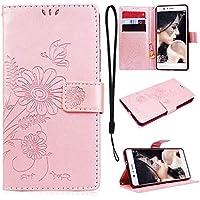 CE-Link Huawei P9 Lite Handyhülle Hülle Ledertasche Schutzhülle Leder Huelle mit Rosegold Schmetterling Blumen... preisvergleich bei billige-tabletten.eu