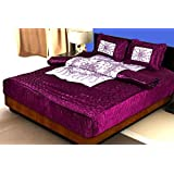 Namaste India Designer Home Décor Gold Printed Double Bed Wedding Bedding Set 1 Double Bed Bedsheet: 2 Pillow Cover: 1 AC Comforter – Set Of 4 Pcs