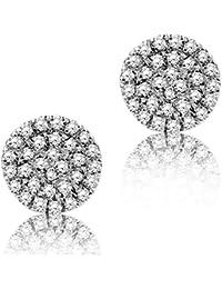 Diamada Femme or blanc en diamant  boucles d'oreilles 9kt (375) brillant 0.177cts