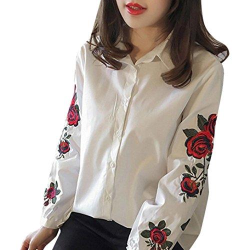 Kanpola Hemd Damen Stickerei Elegant lange Hülse Herbst Locker Bluse (M, Weiß)