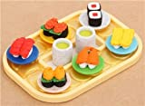 Gommes à effacer en forme de sushi sur un plateau repas par Iwako Japon
