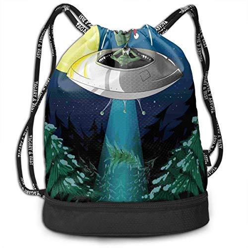 Alien Santa Claus Hat School Drawstring Bag Backpack Bundle Backpack