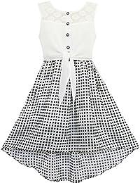 Mädchen Kleid Schnüren Bis Chiffon Gestreift Schwarz Weiß Gebunden Taille Gr. 116-158