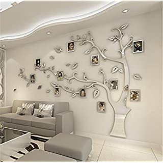 Mystery&Melody 3D DIY Huge Family Photo Tree Photo Frame Wall Decals Tree Sticker Removable Wall Decor Decorative Painting Supplies Wall Stickers for Living Room Bedroom (Sliver-Right, XL)
