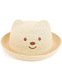 716670dbc Leisial Niños Bebé Sombrero de Paja Playa Sombrero de Osoito Gorro de Sol  de Ocio al