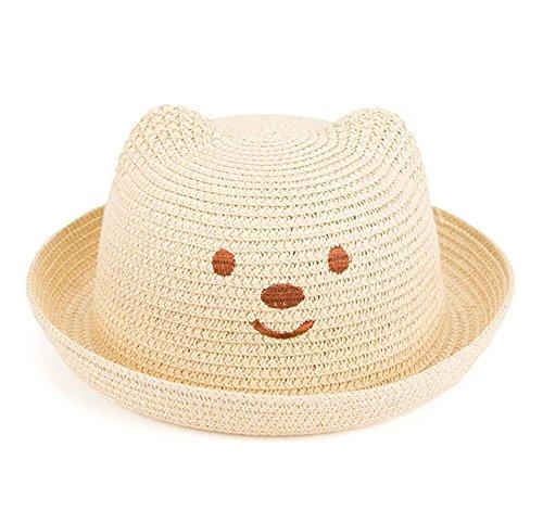 Wonque Kinder Mütze in Bärenform, faltbar, bequem, Freizeit-Hut, Visiere, 1 Stück, Stroh, beige, 51 cm