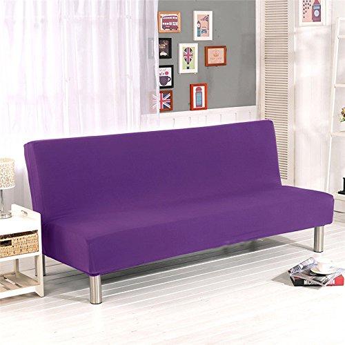 Sofa Bezug Stretch Elastischer Stoff Stuhl Sofa Couch Sofabezug 3 sitzer ohne armlehne stretch Bettcouch Schonbezug (Lila) (Lila Sofa Schonbezug)