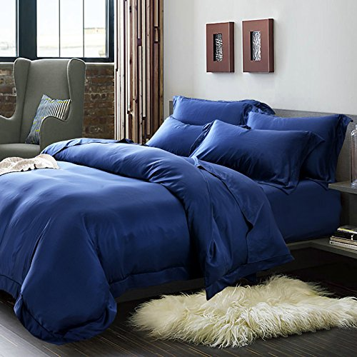 Seide Doppelbett (BB.er Einfach reines Eis Seide angenehm weiche Betten 4-Teiler Doppelbett Bettbezüge Bettbezüge Bettwäsche, blau, 220 x 240 cm)