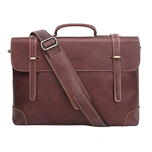 - 51oROa2G5oL - Contacts Mens Genuine Leather Briefcase Messenger Shoulder Cross Body Bag Brown