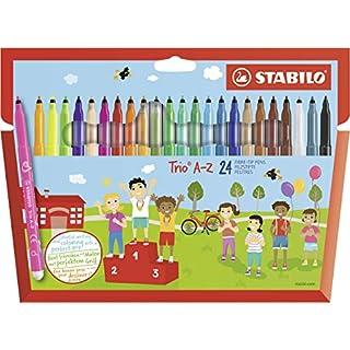 STABILO Trio A-Z Wallet of 20 + 4 FREE neon colours - felt-tip pen with triangular grip zone