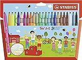 Feutre de coloriage - STABILO Trio A-Z - Étui carton de 24 feutres pointe moyenne  - dont 4 couleurs fluo