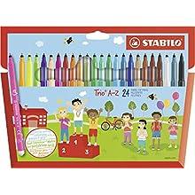 Felt Tip Pen - STABILO Trio A-Z wallet 20 assorted colours + 4 Neon Colours