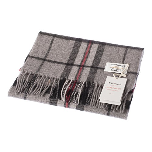 - 51oROuCAF 2BL - Edinburgh 100% Lambswool Scottish Tartan Multicolour Scarf Thomson Grey (One Size)