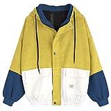 ZAFUL Damen Lässig Stilvolle Langarm Patchwork Cord Kapuzenjacke Reißverschluss Kurzmantel Windbreaker Outwear Yellow M