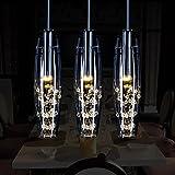 Glighone Kristall Glas Pendelleuchte Hängeleuchte Kronleuchter Modern 3-flammi Anhänger Deckenleuchte Esstischlampe für Esstisch Küche Flur Wohnzimmer Schlafzimmer Bar Hotel usw.