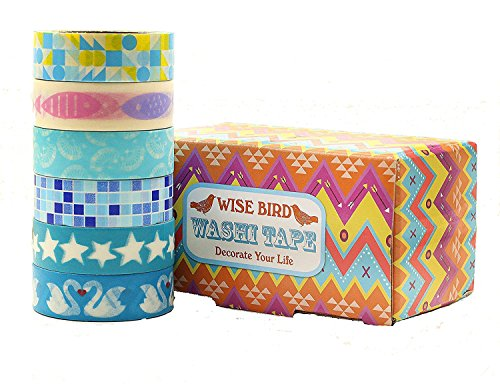 Wise Bird Party Mutter 's Day blau Muster, dekorative Washi Tape Sticky Papier Masker Klebeband DIY, Büro Klasse Schule Geburtstag Diary Scrapbook Basteln Tape, 32 ft/Rolle, Set von 5 Blue - w07 (Blue Pin Bird)