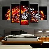 LA VIE 5 Teilig Wandbild Gemälde Beschleunigen Sie das Feuern von Motorrad Hochwertiger Leinwand Bilder Moderne Kunstdruck als Ölbild für Zuhause Wohnzimmer Schlafzimmer Küche Hotel Büro Geschenk