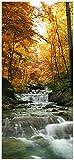 Wallario Selbstklebende Türtapete mit Schutzlaminat, Motiv: Kleiner Bach über Steine im Herbstwald - Größe: 93 x 205 cm in Premium-Qualität: Abwischbar, Brillante Farben, rückstandsfrei zu entfernen