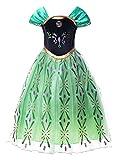 JerrisApparel Niña Princesa Anna Disfraz Fiesta de Cosplay Vestido (5 años, Anna con Accesorios)