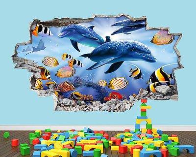 Für Aquarien Fische Süße Tank Smash Kindergarten Jungen Mädchen Raum Wand Aufkleber 3D Kunst Aufkleber Kinder Schlafzimmer Kinderzimmer Baby Cool Wohnzimmer Hall Jungen Mädchen (groß (90x 52cm)) (Coole Aquarien Und Aquarien)