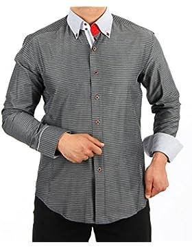 H K Mandel - Camisa casual - con botones - Lunares - para hombre