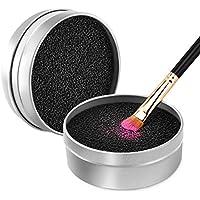 Luxspire Limpiador de Pinceles Maquillaje, Caja de Esponja para quitar residuos de polvos cosméticos sin Agua, Removedor de Color de Brocha a Seco, Limpieza de Esponja Reutilizable y Lavable, Plateado