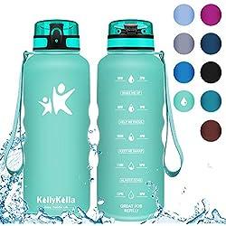 KollyKolla Botella Agua Sin BPA Deportes - 1.5L, Reutilizables Ecológica Tritan Plástico, Bebidas Botellas con Filtro & Marcador de Tiempo, Tapa Abatible, Aptas para el Lavavajillas, Aguamarina Mate