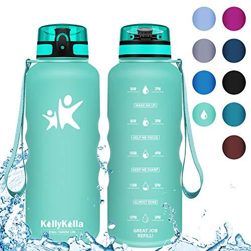 KollyKolla Trinkflasche 1.5 Liter - BPA-frei Auslaufsicher Sport Wasserflasche, Tritan Sportflasche Kohlensäure Geeignet Kunststoff mit Filter für Kinder, Schule, Baby, Fahrrad, Gym, Blau Grün