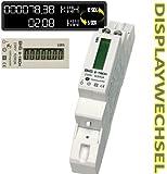 LCD digitaler Wechselstromzähler DRS155DC Stromzähler Wattmeter mit Leistungsanzeige 5(50)A für Hutschiene mit S0 Schnittstelle 1000imp./kWh