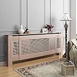 Across-EU Shop Cache-Radiateur Rayures Réglable Panneau Cabinet en MDF Bois, Taille externe:1400-2030mm x 815mm x 160mm