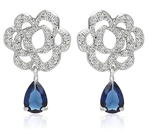 KnSam Boucles d'Oreilles Fantaisie Plaqué Or Blanc Percées Drop Earrings Rose Teardrop Incrusté Cristal Rhinestone Bleu
